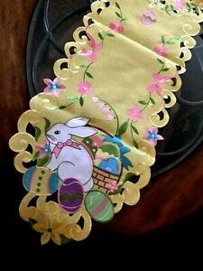"Easter Decor Table Runner Easter Bunny Egg Embroidered Heirloom Design 68"" L"