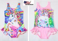Children's Girls Unicorn Rainbow Swimsuit Swimwear Bathing swimming Bikini O29