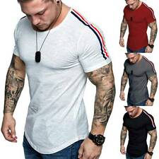 Mens T-Shirts Muscle Short Sleeve Summer Slim Fit T-Shirt Blouse Gym Sports Tops