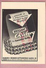HAGEN, Werbung 1952, Ruberg & Renner Ketten-Werke Fahrrad Motorrad Kfz Brilliant