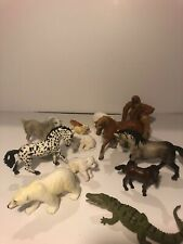 Lot of 13 Safari, Schleich, Battat Animals. Horses, Polar Bears,  Crocodile