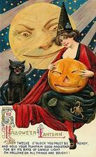 HALLOWEEN, WOMAN HOLDING A JOL, BLACK CAT, FRIDGE MAGNET