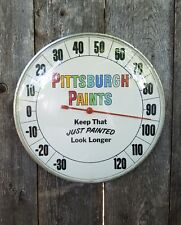 """Working Vintage Original Pittsburgh Paints 12"""" Thermometer with Glass Face"""