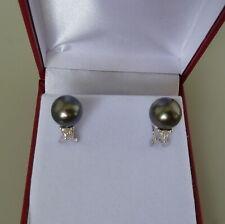 Tahitian Pearl and Diamond Earrings 18k White Gold