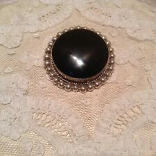Brooch Pin Mexico 25.2gr Necklace Taxco Sterling Silver Black Onyx Round