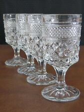 Vintage Anchor Hocking Glass Classic WEXFORD Diamond Footed Crystal Wine Clarets