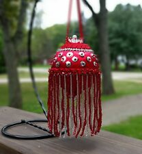 Victorian Fancy Red Beaded Fringe Sequin Satin Christmas Ornament~Vintage Style