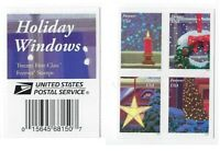*Mint USPS Forever Stamps. Holiday Windows. Christmas. 2016. Block of 4