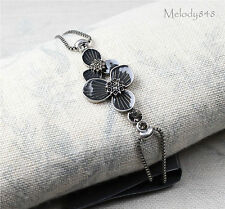 Vintage Andersen PILGRIM Bracelet STAR FLOWER Silver/Grey Enamel Swarovski BNWT