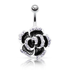With Cz 316L Surgical Steel Barbell Rose Petal Gem Paved Edge Belly Bar