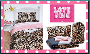 Victoria's Victorias Secret PINK Leopard *BED IN A BAG* Comforter TWO SIDED TWIN