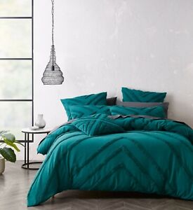 Bianca Haven Teal Quilt Doona Cover Set | Geometric | Cotton Chenille