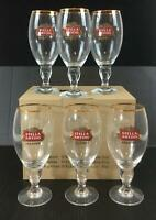 Stella Artois Beer Glasses Set of 6 NEW 11 oz Gold Rimmed Logo Chalice Glass