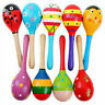 Kids Party Toy Colors Wooden Maraca Rattles Musical Instrument Baby Shaker Toys