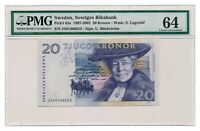 SWEDEN banknote 20 Kronor 2002 PMG MS 64 Choice Uncirculated grade