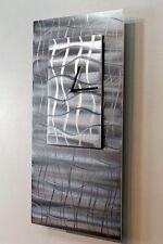 Metal Abstract Modern Painted Grey Silver Wall Art Clock Sculpture Jon Allen