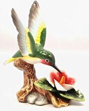 Function Art Hummingbird And Hibiscus Ceramic Figurine