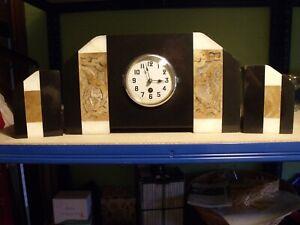 Vintage Art Deco Mantle Clock Garnitures Marble Bird of Paradise