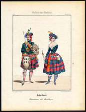 Antique Print-SCOTLAND-CLANSMAN-GIRL-TRADITIONAL COSTUME-KILT-Schneider-1844