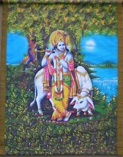 LARGE Colorful Silk Screen Scroll from Thailand for Hindu Practice - Krishna