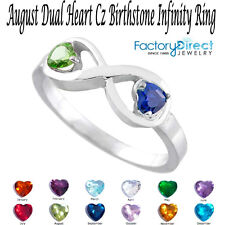 AUGUST Dual Heart CZ Birthstone Infinity Silver Ring Mix Stones Mother's Day