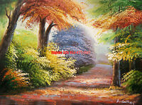 """12x16""""100% hand painted oil flat, Landscape, Mountain, Lake , Forest  Water Fall"""