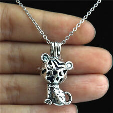 STV77 Antique Pearl Bead Cage Baby Cat Locket Necklace Stainless Chain