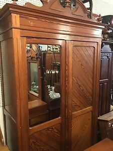Antique French Victorian  Pine Armoire Cabinet 1890s Nice Old Original