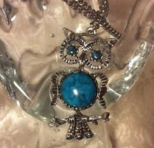 Vintage Silvertone Owl & Faux Turquoise Belly Eyes