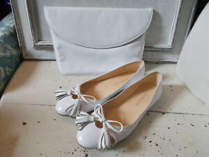 LK Bennett white leather slip on shoes size 4 size 37 and vintage clutch bag