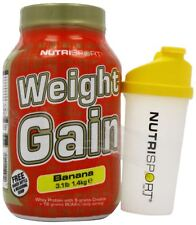 NUTRISPORT WEIGHT GAIN MASS GAINER MUSCLE GROWTH 1.4KG FREE SHAKER + SAMPLE