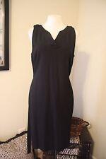 TALBOTS Black V Neck Versatile Stretch Sheath Dress W Belt 12 L NWT