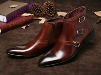 Mens Handmade Boots Brown Triple Monk Leather Ankle Formal Wear Casual Shoes New