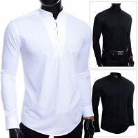Mens Henley Long Sleeve Shirt Smart Casual Grandad Collar Button Loops Holiday