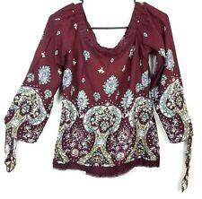 222f3ea1160 Jaase Burgundy WIne Paisley Floral Lace Trim Tie Sleeve Popover Shirt Top  Sz XS