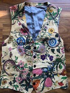 gucci Men's vintage floral linen vest size 50R