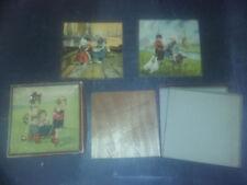 Ancienne BOITE 3 PUZZLES HOLLANDAIS JIGSAW en bois vers 1930 - Fillettes