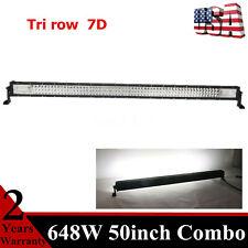 50inch 648W LED Light Bar Tri row 7D+ Offroad Tundra Ranger F134 F150 Slim Lamp
