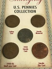 US Pennies 5 Types In Set. Changing Collection. Indian Head, Steel, Shell Case