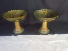 Pair Vintage Hand Painted Enamel coloured Indian Brass Pedistal Bowls