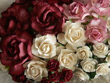 45 BURGANDY / IVORY paper ROSES Mixed sizes MPRx4 Wedding Cake Craft decorations
