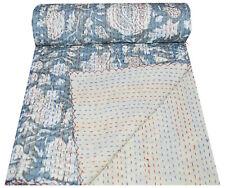 Indian Cotton Floral Print Kantha Bedding Bedspread Handmade Quilt Throw Blanket