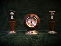 Antique Old Vintage Art Deco Wooden Clock Garniture Candlesticks about 1930