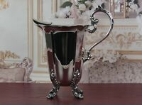 Gorgeous Silverplate Footed Pitcher Scrollwork Leaf Designs Vintage
