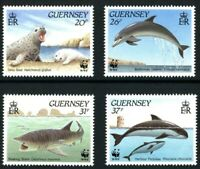 GUERNSEY 1990 MARINE LIFE WWF SET OF ALL 4 COMMEMORATIVE STAMPS MNH (a)