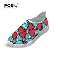 Fashion Print Mesh Sneakers Sport for Women Walking Slip On Shoes Casual Sneaker