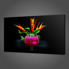 FLOWERS COCKTAIL CANVAS PRINT PICTURE WALL ART KITCHEN DECOR FREE DELOVERY
