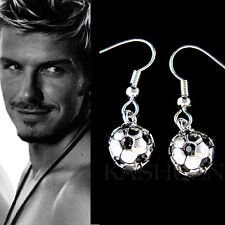w Swarovski Crystal 3D Football Soccer Ball Charm Dangle Earrings Jewelry Unisex