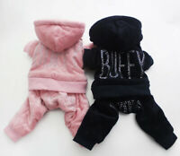 Winter Warm Puppy Dog Cat Clothing Velvet Jumpsuit Hoodie Jacket Small Pet Dogs