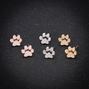 Niedliche Hundepfote Ohrringe für Frauen Gold Silber Hund Katze Pfote Ohrstecker